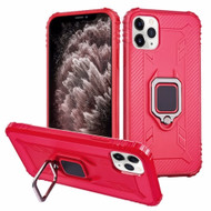 *Sale* Carbon Fiber TPE Case with 360° Rotating Ring Holder for iPhone 11 Pro Max - Red