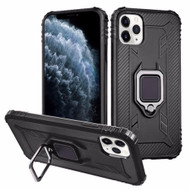 Carbon Fiber TPE Case with 360° Rotating Ring Holder for iPhone 11 Pro - Black