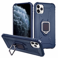 *Sale* Carbon Fiber TPE Case with 360° Rotating Ring Holder for iPhone 11 Pro - Navy Blue