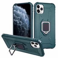 *Sale* Carbon Fiber TPE Case with 360° Rotating Ring Holder for iPhone 11 Pro - Midnight Green