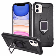 Carbon Fiber TPE Case with 360° Rotating Ring Holder for iPhone 11 - Black