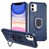 Carbon Fiber TPE Case with 360° Rotating Ring Holder for iPhone 11 - Navy Blue