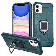*Sale* Carbon Fiber TPE Case with 360° Rotating Ring Holder for iPhone 11 - Midnight Green