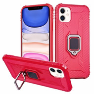 Carbon Fiber TPE Case with 360° Rotating Ring Holder for iPhone 11 - Red