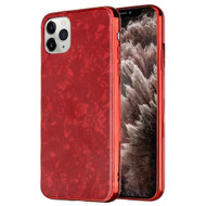 Pearl Seashell Scratch Resistant Tempered Glass Fusion Case for iPhone 11 Pro Max - Red