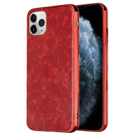 Pearl Seashell Scratch Resistant Tempered Glass Fusion Case for iPhone 11 Pro - Red