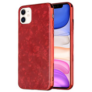 *Sale* Pearl Seashell Scratch Resistant Tempered Glass Fusion Case for iPhone 11 - Red