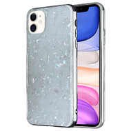 Pearl Seashell Scratch Resistant Tempered Glass Fusion Case for iPhone 11 - White