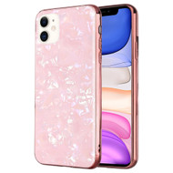 Pearl Seashell Scratch Resistant Tempered Glass Fusion Case for iPhone 11 - Pink