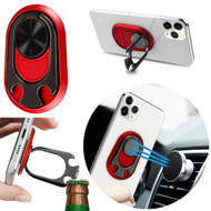 4-IN-1 Smart Loop Universal Smartphone Ring Holder / Stand / Car Mount / Bottle Opener - Red