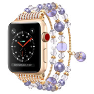 Faux Pearl Natural Agate Stone Watch Band for Apple Watch 44mm / 42mm - Purple
