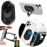 4-IN-1 Smart Loop Universal Smartphone Ring Holder / Stand / Car Mount / Bottle Opener - Black