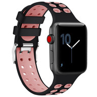Rugged Sport Band Watch Strap for Apple Watch 44mm / 42mm - Black Pink