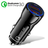Qualcomm Quick Charge 3.0 Fast Car Charger with Dual USB Charging Ports - Black