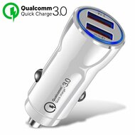 Qualcomm Quick Charge 3.0 Fast Car Charger with Dual USB Charging Ports - White