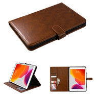 Book-Style Leather Folio Case with Kickstand Feature for iPad 10.2 inch (7th Generation) - Brown