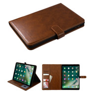 Book-Style Leather Folio Case with Kickstand Feature for iPad Air 3 / iPad Pro 10.5 inch - Brown