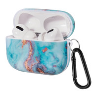 Designer TPE Protective Case with Carabiner Clip for Apple AirPods Pro - Marble Turquoise