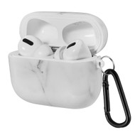 Designer TPE Protective Case with Carabiner Clip for Apple AirPods Pro - Marble White