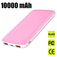 18W USB-C PD Power Delivery 3.0 + Quick Charge 3.0 Portable Power Bank Battery Pack 3-Port USB Charger 10000mAh - Pink