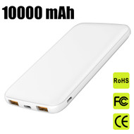 18W USB-C PD Power Delivery 3.0 + Quick Charge 3.0 Portable Power Bank Battery Pack 3-Port USB Charger 10000mAh - White