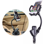 360 Rotating Flexible Gooseneck Car Cradle Mount Phone Holder with Dual USB Charger and DC Socket - Black
