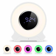 Wake Up Light Bluetooth V4.2 Wireless Speaker with Alarm Clock and FM Radio - White