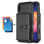 Military Grade Certified TUFF Hybrid Wallet Case for Samsung Galaxy A10e - Black