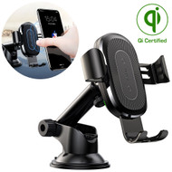 Auto Lock Gravity Sensing Car Holder & Qi Certified Wireless Charger - Black