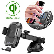 Automatic Clamping Sensor Qi Certified Wireless Fast Charging Car Holder - Black