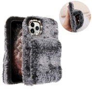 Fluffy Plush Faux Fur Case with Hand Warmer Strap for iPhone 11 Pro Max - Grey