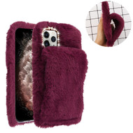 Fluffy Plush Faux Fur Case with Hand Warmer Strap for iPhone 11 Pro Max - Burgundy