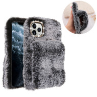 Fluffy Plush Faux Fur Case with Hand Warmer Strap for iPhone 11 Pro - Grey