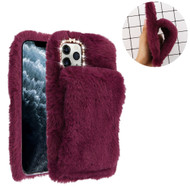 Fluffy Plush Faux Fur Case with Hand Warmer Strap for iPhone 11 Pro - Burgundy