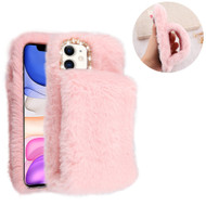 Fluffy Plush Faux Fur Case with Hand Warmer Strap for iPhone 11 - Pink