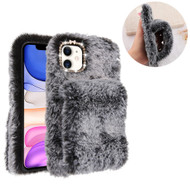Fluffy Plush Faux Fur Case with Hand Warmer Strap for iPhone 11 - Grey