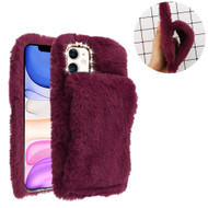 Fluffy Plush Faux Fur Case with Hand Warmer Strap for iPhone 11 - Burgundy