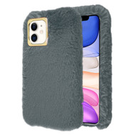 Fluffy Plush Faux Fur Case for iPhone 11 - Grey