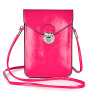 Festival Leather Phone Crossbody Bag - Hot Pink