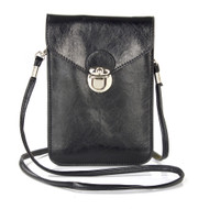 Festival Leather Phone Crossbody Bag - Black