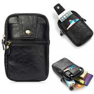 Genuine Leather Mobile Phone Waist Bag with Carabiner Clip - Black