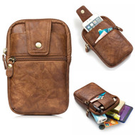 Genuine Leather Mobile Phone Waist Bag with Carabiner Clip - Brown