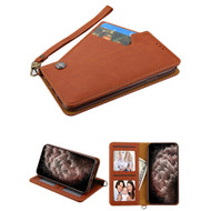 Noble Premium Leather Wallet Case with Slide Out Card Holder for iPhone 11 Pro Max - Brown