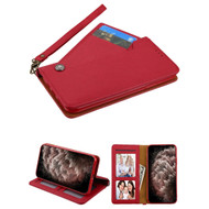 Noble Premium Leather Wallet Case with Slide Out Card Holder for iPhone 11 Pro Max - Red