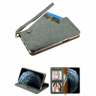Noble Premium Leather Wallet Case with Slide Out Card Holder for iPhone 11 Pro - Grey