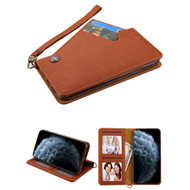 Noble Premium Leather Wallet Case with Slide Out Card Holder for iPhone 11 Pro - Brown