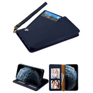 *Sale* Noble Premium Leather Wallet Case with Slide Out Card Holder for iPhone 11 Pro - Navy Blue