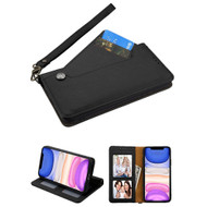 Noble Premium Leather Wallet Case with Slide Out Card Holder for iPhone 11 - Black