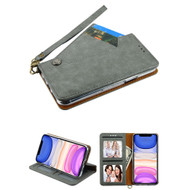 Noble Premium Leather Wallet Case with Slide Out Card Holder for iPhone 11 - Grey