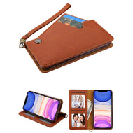 Noble Premium Leather Wallet Case with Slide Out Card Holder for iPhone 11 - Brown